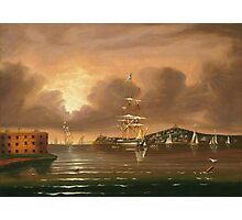 Thomas Chambers - Threatening Sky, Bay Of New York. Sea landscape: sea view,  yachts,  holiday, sailing boat, coast seaside, waves and beach, marin, seascape, sun clouds, nautical, ocean Photographic Print