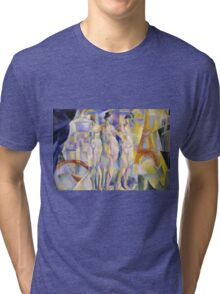 Robert Delaunay - La Ville De Paris. Abstract painting: abstraction, geometric, Nude Woman, composition, lines, forms, creative fusion, music, kaleidoscope, illusion, fantasy future Tri-blend T-Shirt