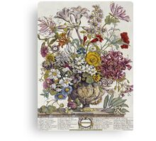 Robert Furber - Twelve Months Of Flowers. Still life with flowers: flowers, bumblebee , carnations, peonies, roses, tulips,  marigolds,  life, garden, blossom, vase Canvas Print