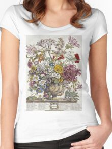Robert Furber - Twelve Months Of Flowers. Still life with flowers: flowers, bumblebee , carnations, peonies, roses, tulips,  marigolds,  life, garden, blossom, vase Women's Fitted Scoop T-Shirt