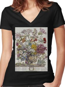 Robert Furber - Twelve Months Of Flowers. Still life with flowers: flowers, bumblebee , carnations, peonies, roses, tulips,  marigolds,  life, garden, blossom, vase Women's Fitted V-Neck T-Shirt