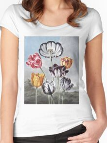Robert John Thornton - Tulips. Still life with flowers:  bouquet, flowers, bumblebee , carnations, peonies, roses, tulips,  marigolds,  life, garden, blossom Women's Fitted Scoop T-Shirt