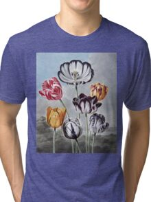 Robert John Thornton - Tulips. Still life with flowers:  bouquet, flowers, bumblebee , carnations, peonies, roses, tulips,  marigolds,  life, garden, blossom Tri-blend T-Shirt