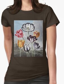 Robert John Thornton - Tulips. Still life with flowers:  bouquet, flowers, bumblebee , carnations, peonies, roses, tulips,  marigolds,  life, garden, blossom Womens Fitted T-Shirt