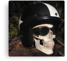 Retro Skull biker Helmet Glasses Canvas Print