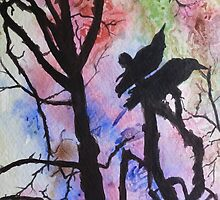 Birds on a tree branch by jadlart