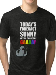 Sunny with a Chance of Gaaaaay! Tri-blend T-Shirt