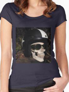 Retro Skull biker Helmet Glasses Women's Fitted Scoop T-Shirt