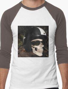 Retro Skull biker Helmet Glasses Men's Baseball ¾ T-Shirt