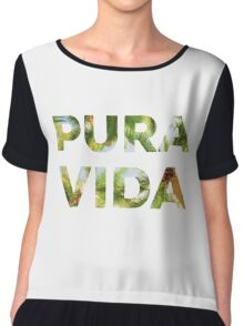 Pura Vida Costa Rica Palm Trees Chiffon Top