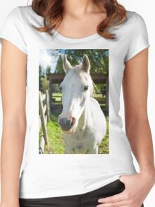 White horse Women's Fitted Scoop T-Shirt