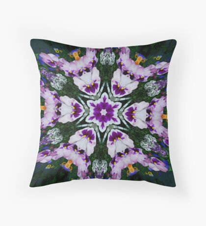 Pansy Floral Fractal Art Throw Pillow