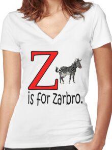 Funny Alphabet: Z is for Zebra Women's Fitted V-Neck T-Shirt