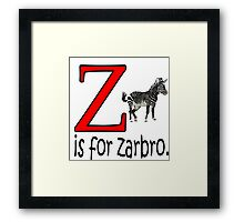 Funny Alphabet: Z is for Zebra Framed Print
