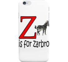 Funny Alphabet: Z is for Zebra iPhone Case/Skin