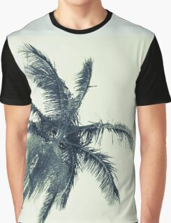 Palm tree against sky low angle point of view monochrome faded image. Graphic T-Shirt