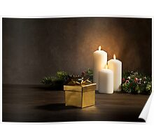 Candles present in Christmas setting Poster