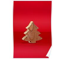 Christmas tree over red surface Poster
