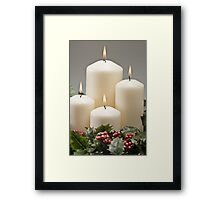 Advent wreath with burning candles  Framed Print