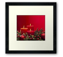Red advent flower arangement with burning candles Framed Print
