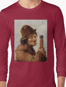 Teniers, David The Younger - A Peasant Holding A Glass. Man portrait: strong man, boy, male, beard, business suite, masculine, boyfriend, smile, manly, sexy men, mustache Long Sleeve T-Shirt