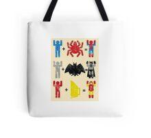 Spider + Man, Bat + Man, Iron + Man Tote Bag