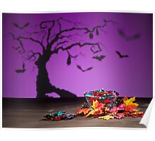 Halloween tree bats sweets and golden leafs  Poster
