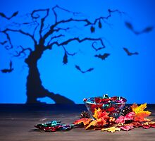 Halloween tree bats sweets and golden leafs  by 3523studio