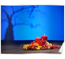 Candles in scary Halloween landscape with dry tree Poster