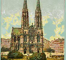 A digital painting of the Votive Church, Vienna, Austro-Hungarian Empire 19th century by Dennis Melling