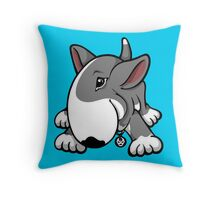 Let's Play English Bull Terrier Grey  Throw Pillow