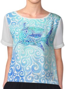 Swirly Shark Chiffon Top