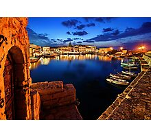 The old Venetian port of Rethymno - Crete Photographic Print