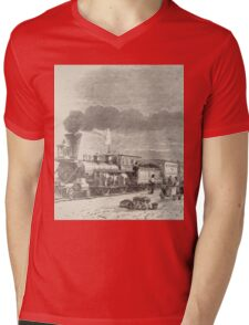 Union Pacific Railroad Station Mens V-Neck T-Shirt