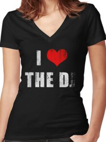 I Heart the D ... J? Women's Fitted V-Neck T-Shirt