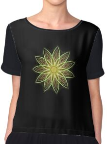 Fractal Flower-Yellow / Earthtones -geometric art Chiffon Top