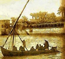 A digital painting of a Sailing Boat on the River Nile c 1908 by Dennis Melling
