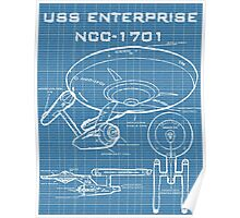 U.S.S. Enterprise Blueprints Poster