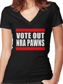 Vote Out NRA Pawns Women's Fitted V-Neck T-Shirt
