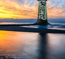 Talacre Lighthouse Sunset by Adrian Evans