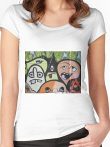 cartoon faces including triangle man Women's Fitted Scoop T-Shirt