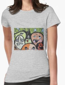 cartoon faces including triangle man Womens Fitted T-Shirt