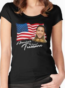 America's National Treasure - White Text Women's Fitted Scoop T-Shirt