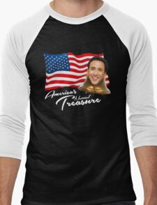 America's National Treasure - White Text Men's Baseball ¾ T-Shirt