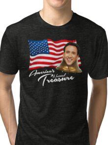 America's National Treasure - White Text Tri-blend T-Shirt