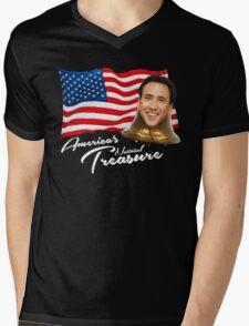America's National Treasure - White Text Mens V-Neck T-Shirt