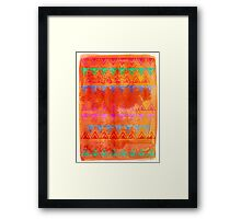 Abstract Bunting Watercolor Painting in Hot Pink, Orange, Mint & Blue Framed Print