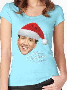 Merry Christmas from St Nic-olas Cage Women's Fitted Scoop T-Shirt