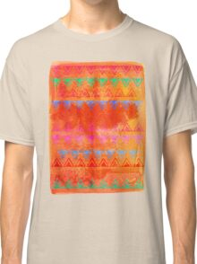 Abstract Bunting Watercolor Painting in Hot Pink, Orange, Mint & Blue Classic T-Shirt