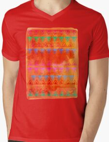 Abstract Bunting Watercolor Painting in Hot Pink, Orange, Mint & Blue Mens V-Neck T-Shirt
